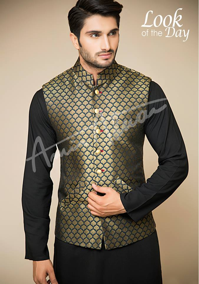 Amir Adnan Men Ceremony Kurtas Waist Coat Collection 2018 2019