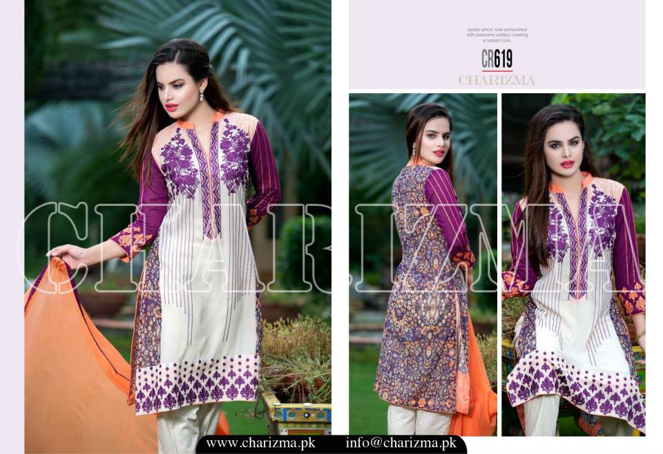 Charizma Luxury Embroidered Lawn Dresses Collection 2015 (12)