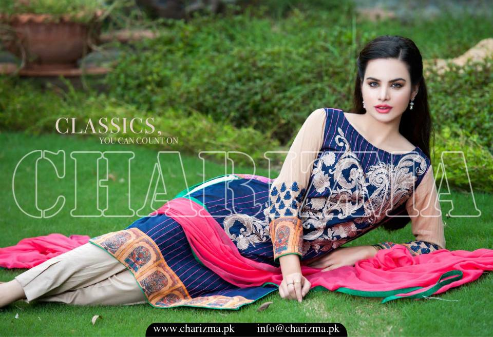 Charizma Luxury Embroidered Lawn Dresses Collection 2015 (13)