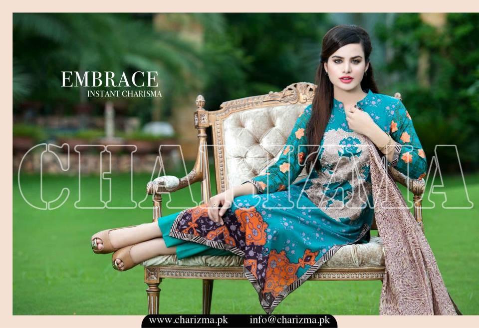Charizma Luxury Embroidered Lawn Dresses Collection 2015 (17)