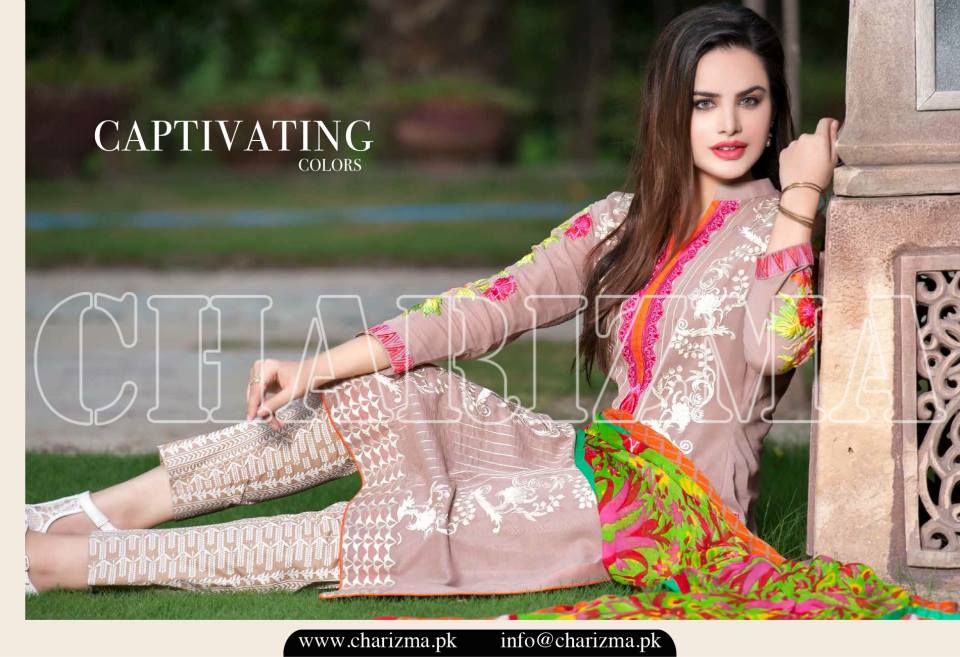 Charizma Luxury Embroidered Lawn Dresses Collection 2015 (7)