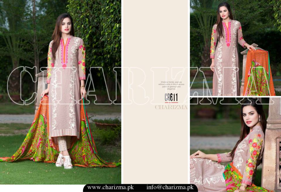 Charizma Luxury Embroidered Lawn Dresses Collection 2015 (8)
