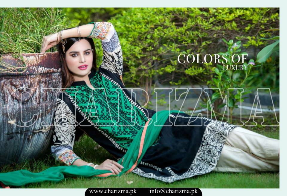 Charizma Luxury Embroidered Lawn Dresses Collection 2015 (9)