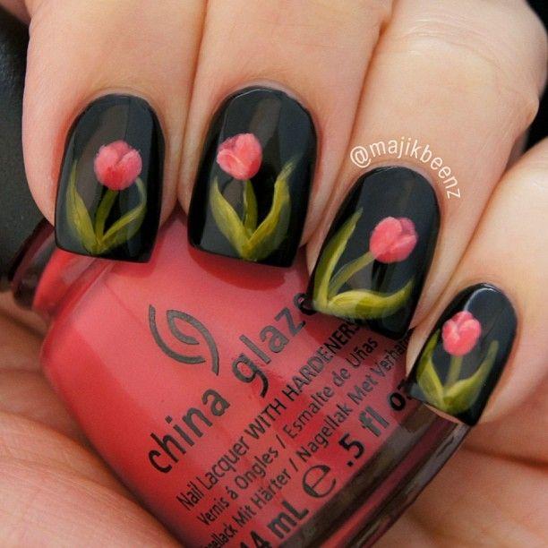 Floral Tulip Nail art designs tutorials 5