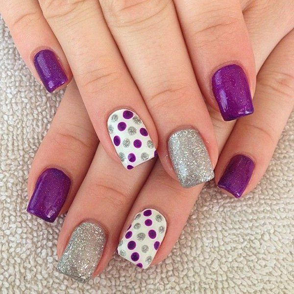 Lines and Polka Dot Nail Arts designs tutorials (7)