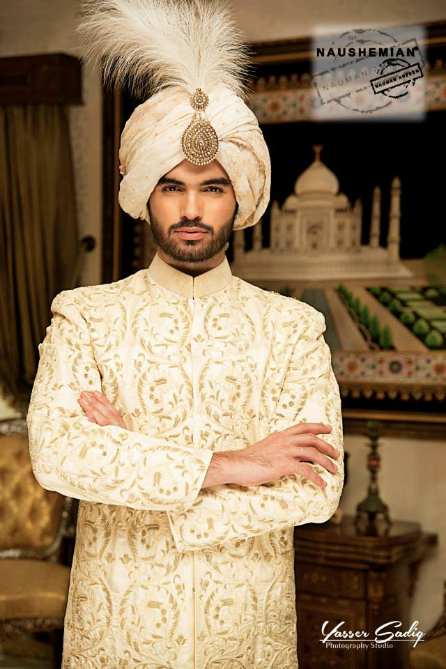 Nauman Arfeen Groom Wedding Sherwani Collection 2015-2016 (15)