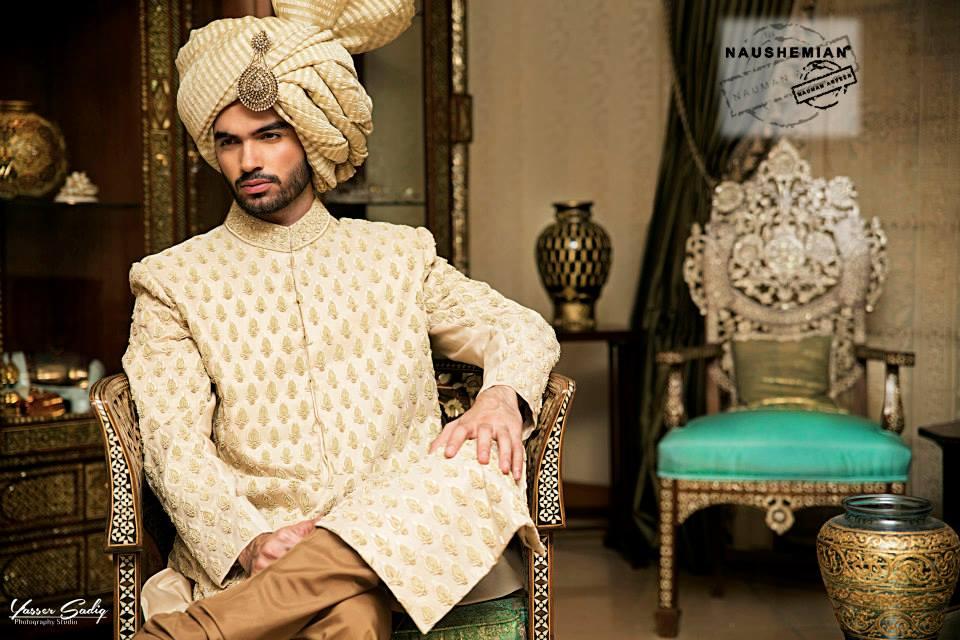 Nauman Arfeen Groom Wedding Sherwani Collection 2015-2016 (17)