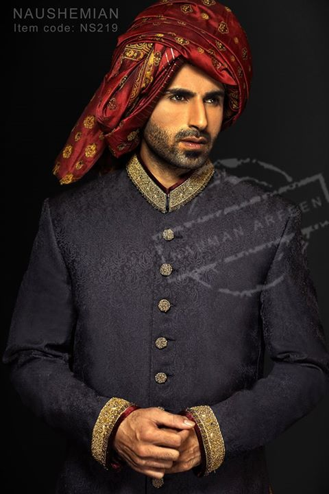 Nauman Arfeen Groom Wedding Sherwani Collection 2015-2016 (28)