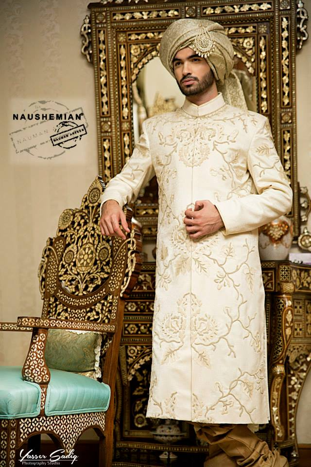 Nauman Arfeen Groom Wedding Sherwani Collection 2015-2016 (3)