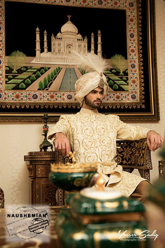 Nauman Arfeen Groom Wedding Sherwani Collection 2015-2016 (4)