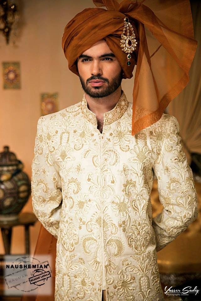 Nauman Arfeen Groom Wedding Sherwani Collection 2015-2016 (5)