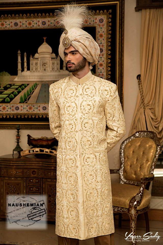 Nauman Arfeen Groom Wedding Sherwani Collection 2015-2016 (7)