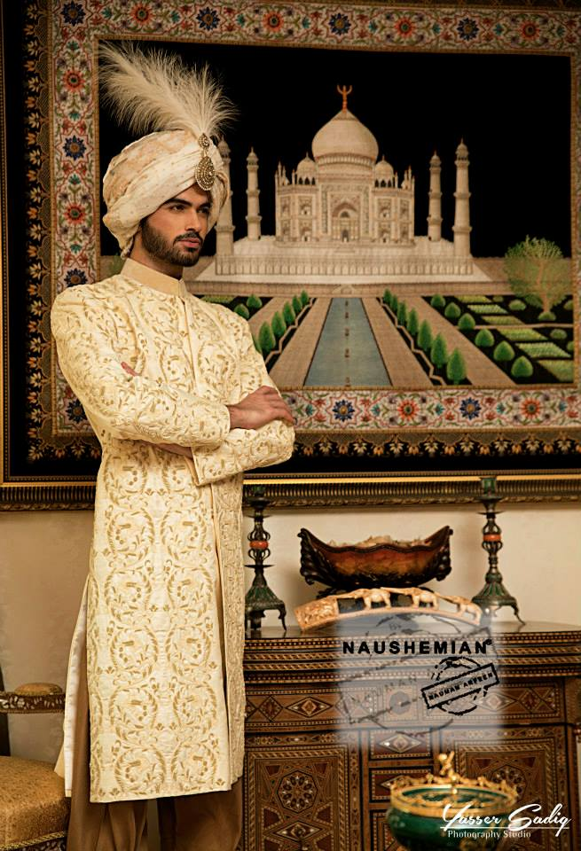Nauman Arfeen Groom Wedding Sherwani Collection 2015-2016 (8)