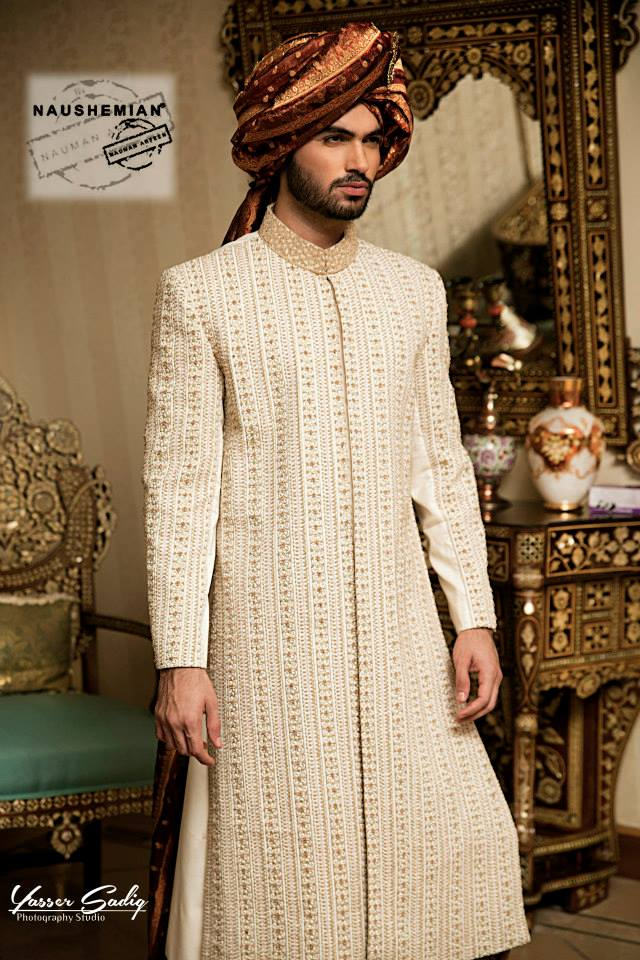 Nauman Arfeen Groom Wedding Sherwani Collection 2015-2016 (9)
