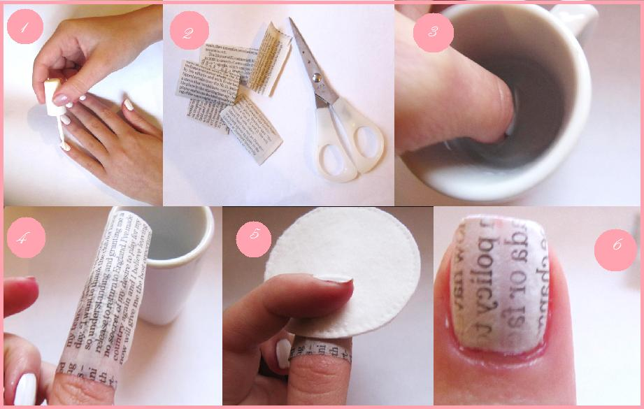 Newspaper Nail Art designs & Tutorials (3)