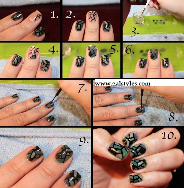 Stained Glass Nails Art Designs & tutorials with steps (2)
