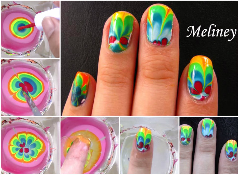 Water Marble Nail Art designs& tutorials (7)