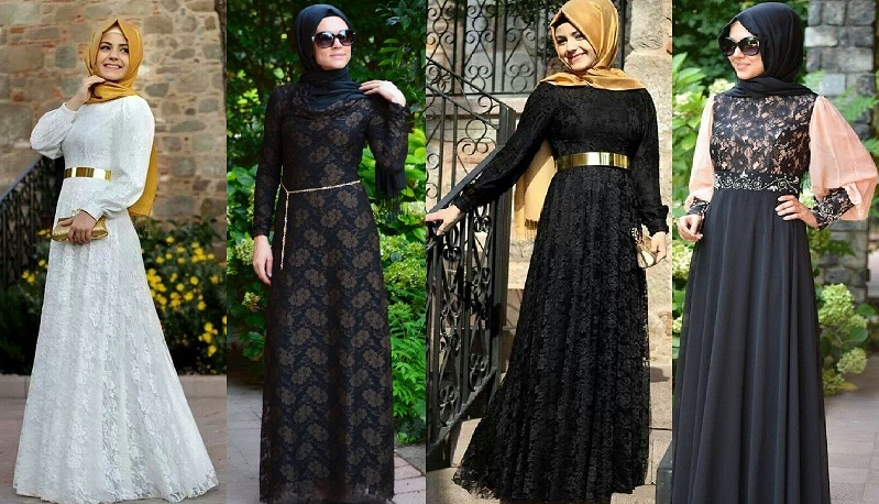 Fancy Lace Embroidered Abaya Designs Latest Collection 2018 2019
