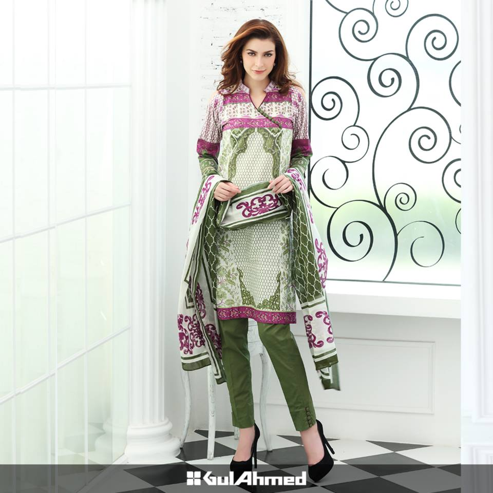 Gul Ahmed Mid Summer Cambric Dresses 2015-2016 (1)