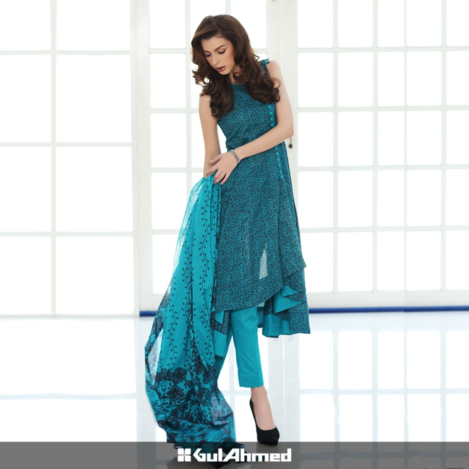 Gul Ahmed Mid Summer Cambric Dresses 2015-2016 (2)
