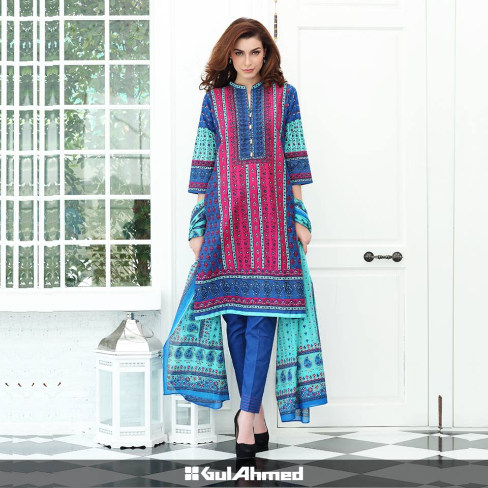 Gul Ahmed Mid Summer Cambric Dresses 2015-2016 (7)