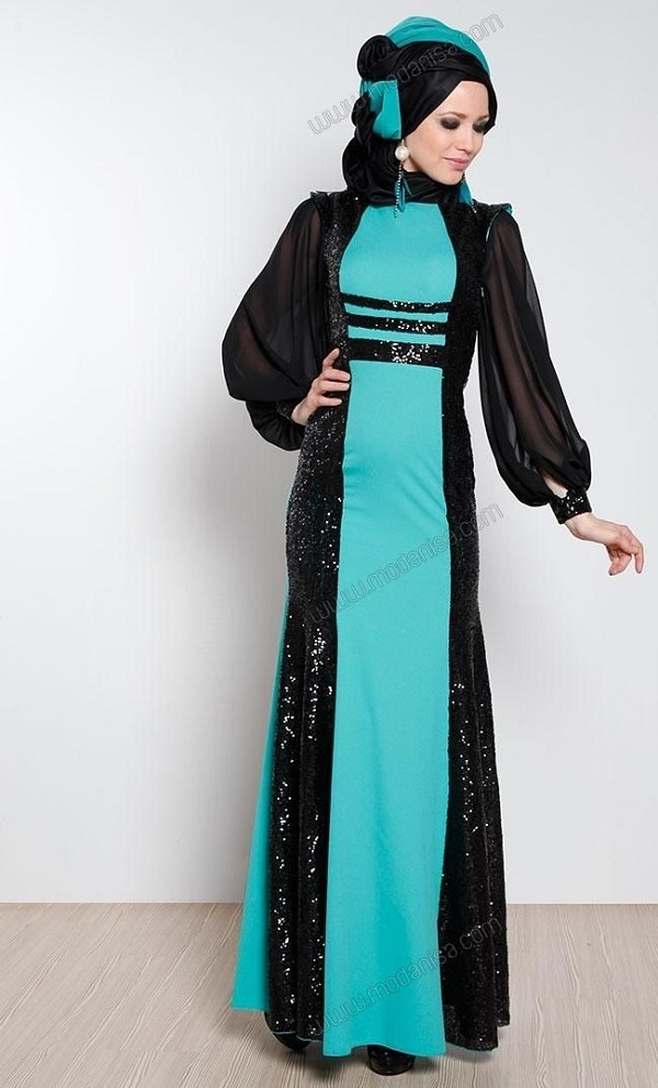 Fancy Party Wear Formal Hijabs with Abaya Collection 2016-2017 (15)