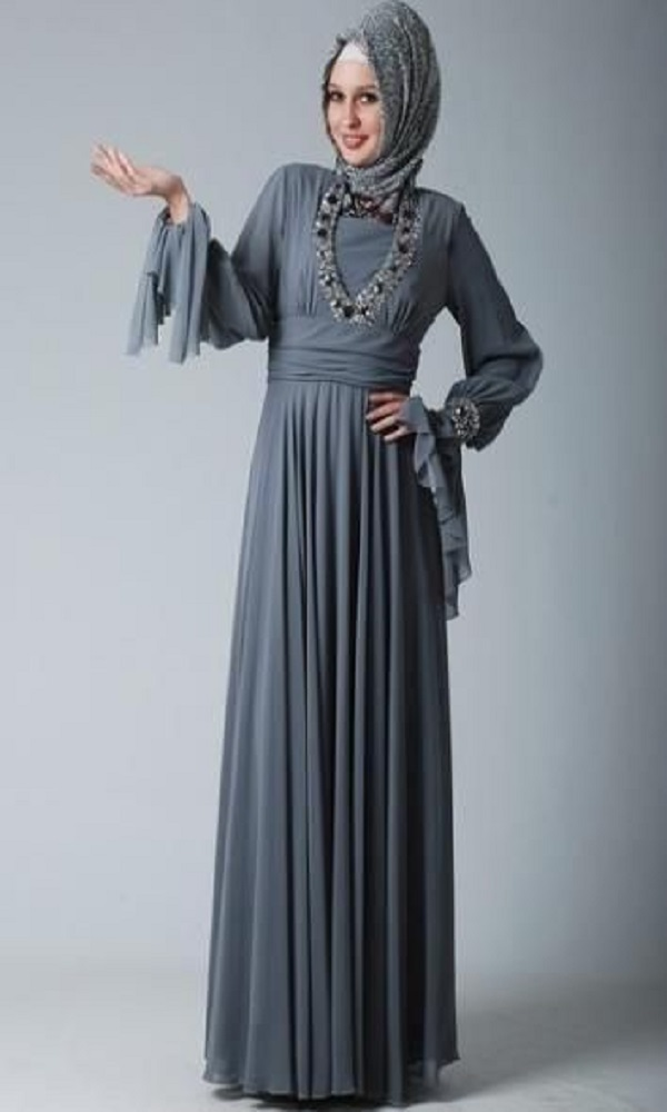 Fancy Party Wear Formal Hijabs with Abaya Collection 2016-2017 (2)