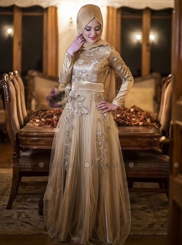 Fancy Party Wear Formal Hijabs with Abaya Collection 2016-2017 (24)