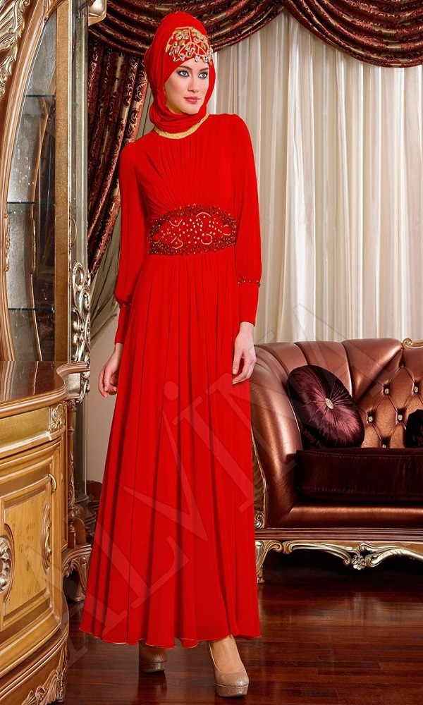 Fancy Party Wear Formal Hijabs with Abaya Collection 2016-2017 (7)