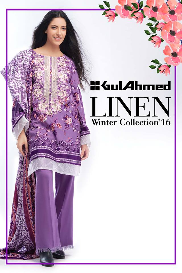 e6e95753b7 Gul Ahmed Winter Dresses Collection 2016-17 Chiffon Khaddar Linen