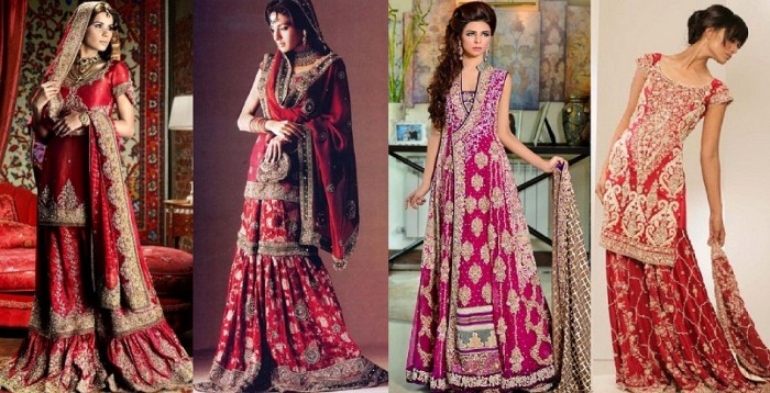 Latest Asian Bridal Wedding Sharara Dresses Designs 2015-2016