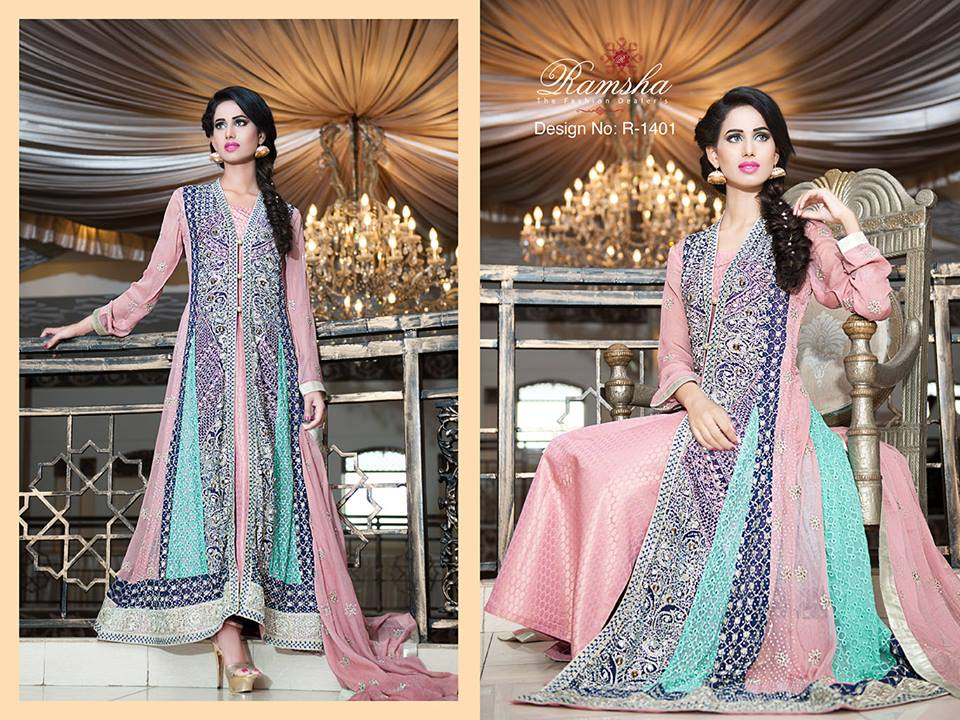 9e5a17feb8 Latest Party Wear Long frocks for Ladies Collection 2019-2020