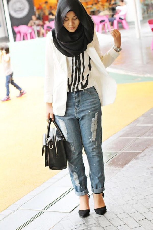 Casual Wear Hijab Styles with Jeans Trends 2016-2017 (1)