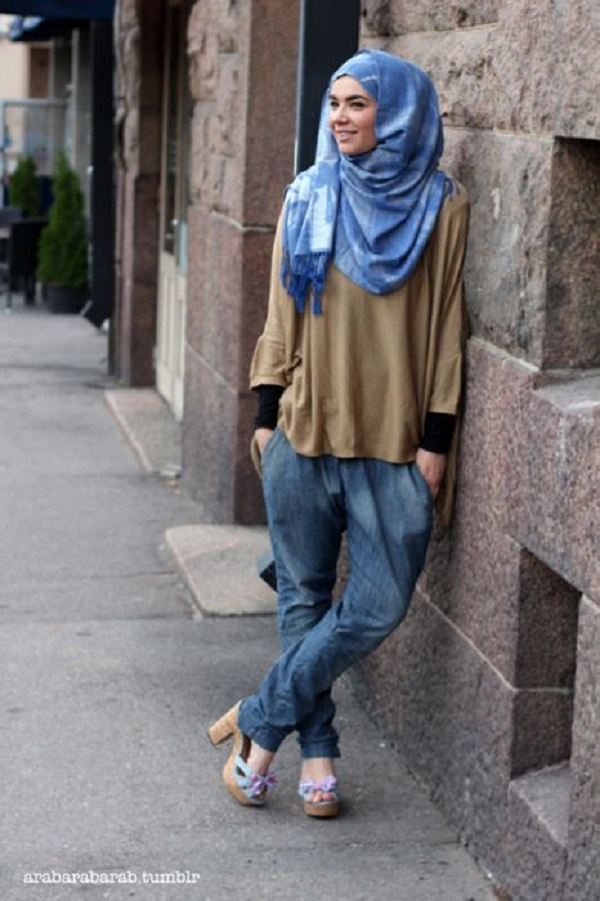 Casual Wear Hijab Styles with Jeans Trends 2016-2017 (19)