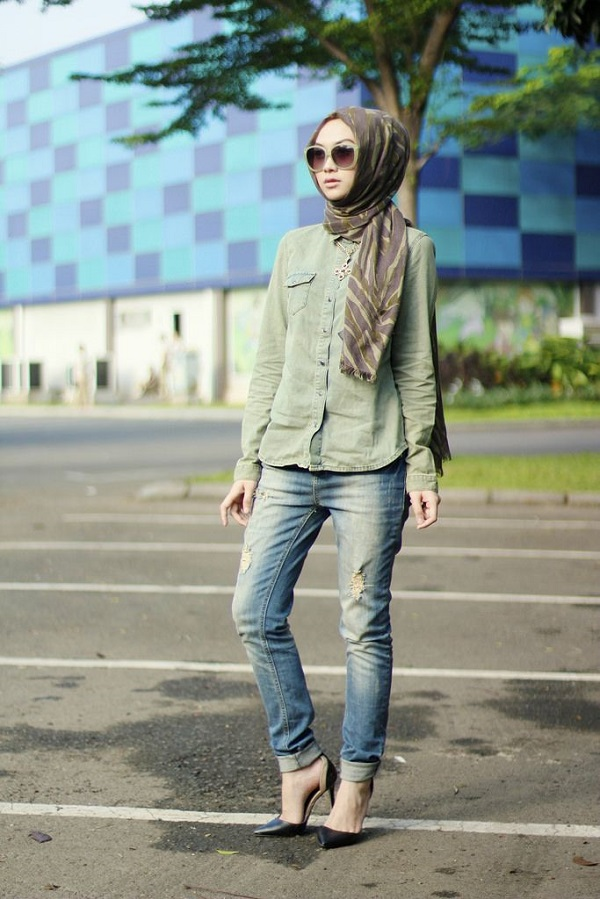 Casual Wear Hijab Styles with Jeans Trends 2016-2017 (5)