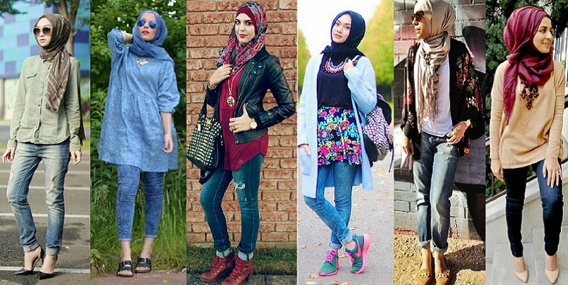 Casual Wear Hijab Styles with Jeans Trends 2016-2017