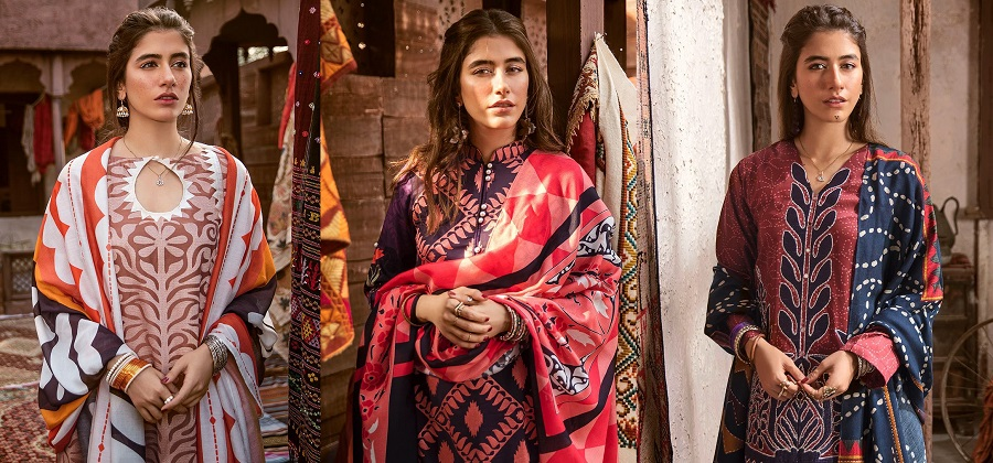 Cross Stitch Winter Printed Embroidered Dresses Collection 2018-2019