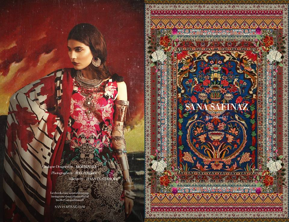 Latest Sana Safinaz Winter Shawl Dresses Collection 2017-2018 images 3