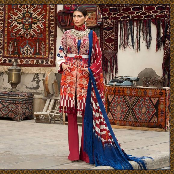 Latest Sana Safinaz Winter Shawl Dresses Collection 2017-2018 images 1
