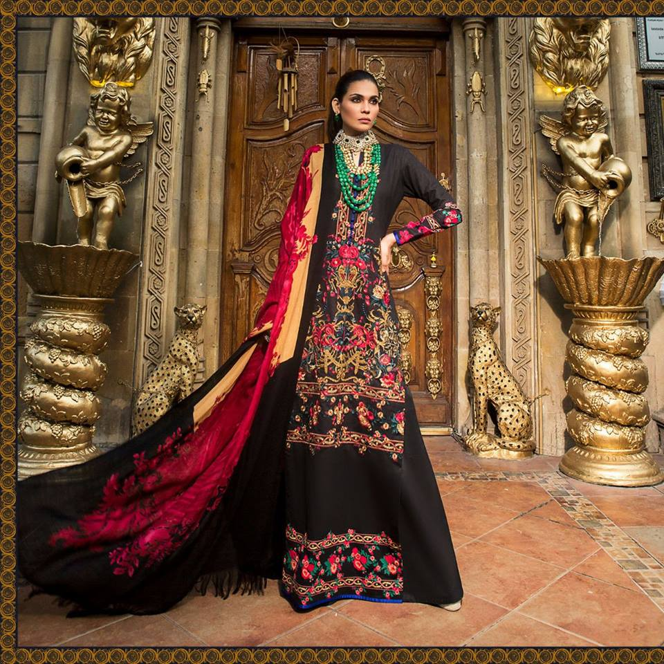 Latest Sana Safinaz Winter Shawl Dresses Collection 2017 2018