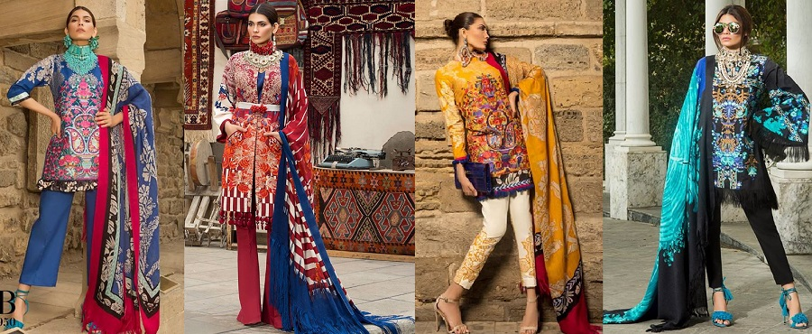Latest Sana Safinaz Winter Shawl Dresses Collection 2017-2018