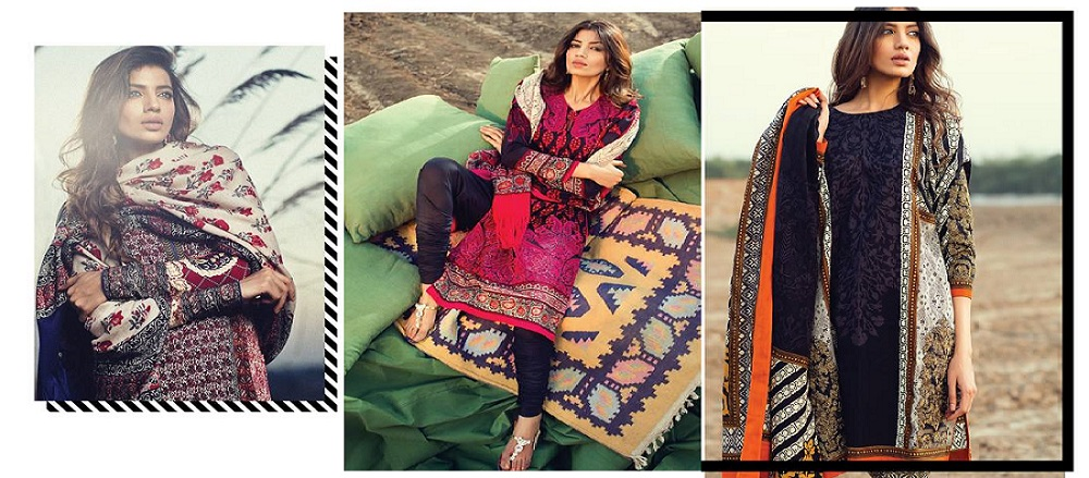 Sana Safinaz Winter shawl dresses collection 2015-2016