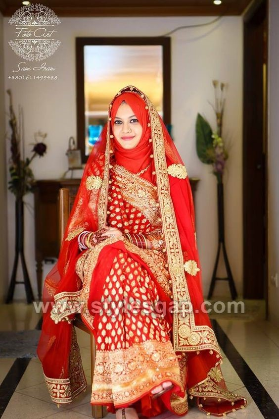 latest bridal hijab styles dresses designs collection 2017