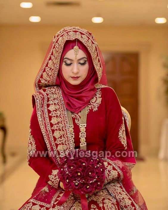 3ed562b8182a Latest Bridal Hijab Styles Dresses Designs Collection 2017-2018 ...