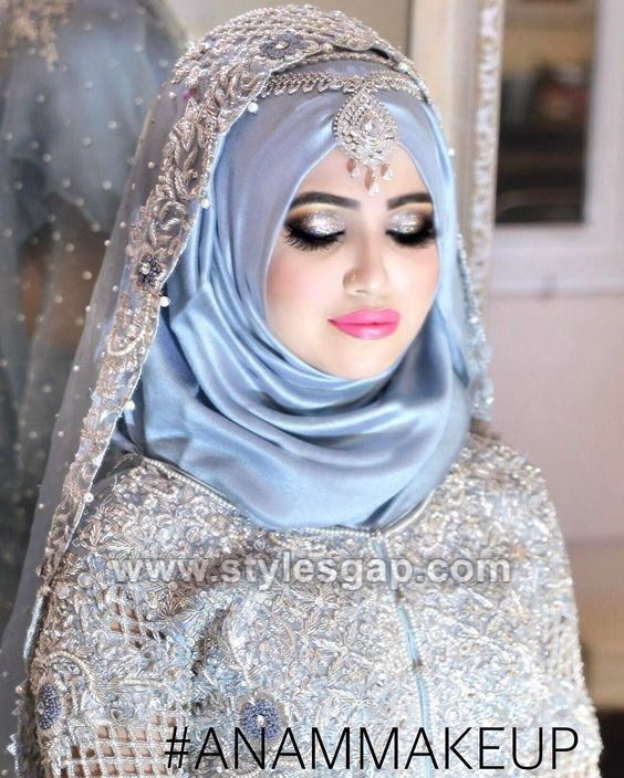 Hair Style With Hijabfor Wedding: Latest Bridal Hijab Styles Dresses Designs Collection 2017