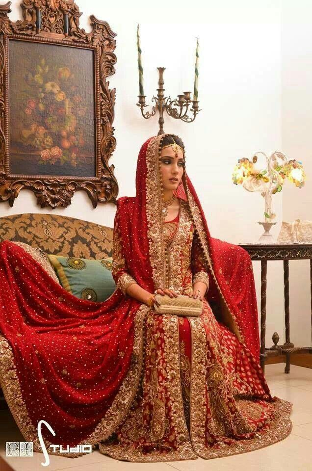 Pakistani bridal lehenga dresses designs styles 2018 2019 for Asian red wedding dresses