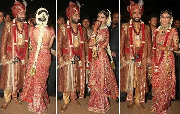 Shilpa Shetty Raj- Top 10 Famous Indian Celebrity Wedding Dresses Trends (2)