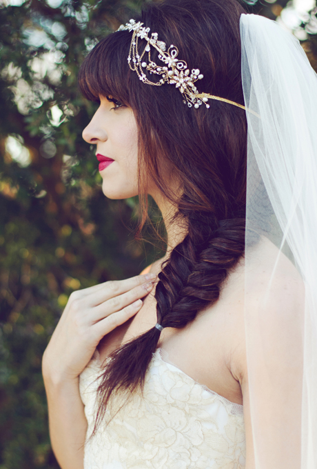 FISHTAIL SIDE BRAID WITH TIARA: