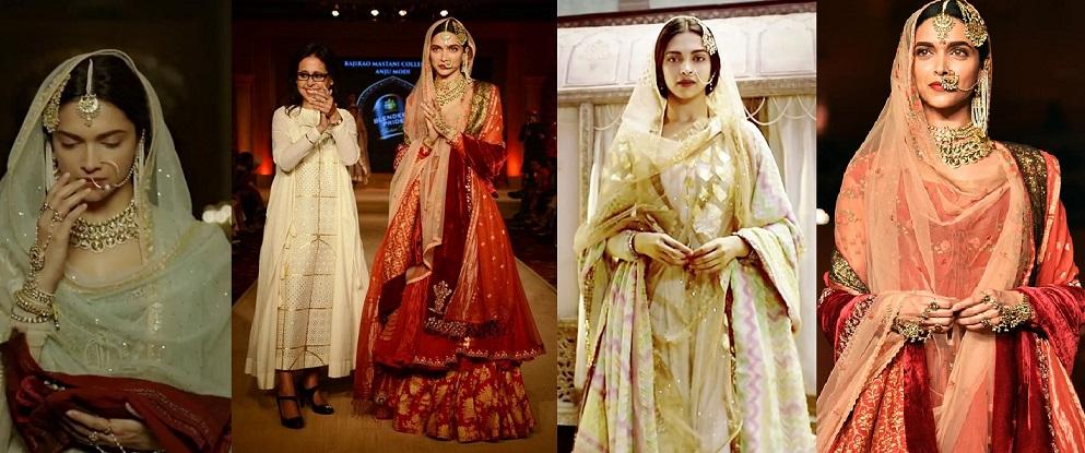 Deepika Padakoune Dresses in Bajirao Mastani by Designer Anju Modi
