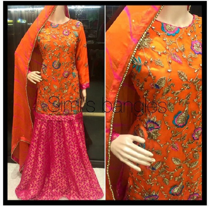Latest Mehndi Lehenga & Sharara Dresses Designs 2016-2017 (2)
